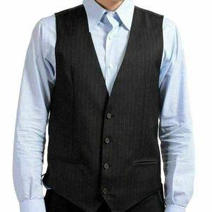 Dolce & Gabbana Wool Striped Button Up Dress Vest